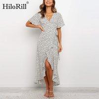 HiloRill Femmes Long Maxi robe d'été 2020 V Neck Sexy de Split Plage Wrap robes à volants dames à manches courtes Casual Robe Robe