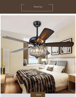 American style crystal ceiling fan lamp 52 Inch For Bedrooom Living Room Coffeehouse Not Dimmable Ceiling light