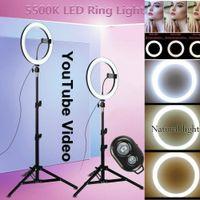 "10"" LED студии Ring Light Фото Лампа свет для Youtube Tiktok Video Live + 20 50 160 CM Штатив"