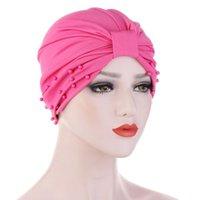 Le nuove donne Ruffle Knot Bead Cappello Turbante Bandana Sciarpa Cancer Chemotherapy Chemo Berretti Headwrap Caps sonno Cap per le donne