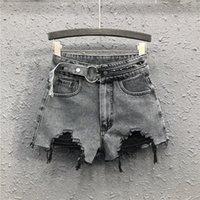 Frauen Jeans 2021 Frühling High-taillierte Denim Shorts waren dünne Schnalle Nieten Wide Bein lose Hole Frauen