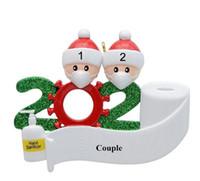 Quarantena Decorazione natalizia Compleanni regalo prodotto personalizzato famiglia di 4 Ornamento Pandemia Maschere mano Sanitized OWA1163