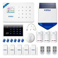 Alarmsysteme Kerui W18 System WiFi GSM Home Security Wireless Motion Detektion Türsensor Kit mit 110 dB Outdoor Solar Sirene