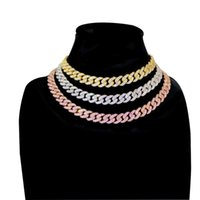 Freewear 12mm encryption Micro Pave Iced CZ Cuban Link Necklaces Chains Gold Luxury Bling Bling Jewelry Fashion Hiphop T200824
