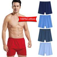Taille Plus 4XL Homme Sous-vêtements 100% coton âge moyen Caleçon âgées surdimensionné élastique en vrac Respirant Underpants Pour le père