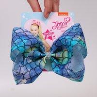 Clip 27style della ragazza di capelli dell'arco 8 pollici Jojo fiori arcobaleno della sirena Flamingo Neve stampare archi dei capelli Barrettes copricapo dei capretti con la clip GGA3647-5