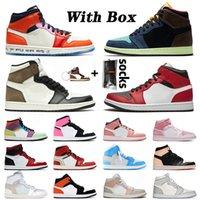 nike air retro jordan 1 jordans 1s jumpman mid high off white Crimson Ton Pembe Sneakers Man Eğiticilerin kapalı Womens Korkusuz Orta Milan HAVA White için BOX Basketbol Ayakkabı