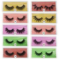 3D Yanlış Eyelashes 10/20/30/40/50/70 / 100pairs bir Paketindeki Renkli Kart Makyaj 10pairs 3D Vizon Kirpikler Doğal Vizon Kirpikleri