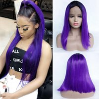 Synthetic Hair Wig Purple Ombre Heat Resistant Fiber Natural...