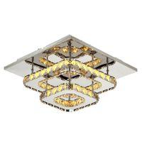 거실 침실을위한 조명기구 매달려 36W 크리스탈 광장 천장 램프 LED 현대 Lignt 크리스탈 펜던트
