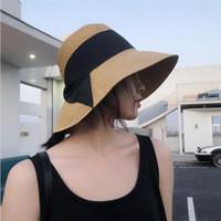 유행 접이식 밀짚 여자 모자 패션 자외선 차단제 귀여운 여성 모자 야외 디자이너 인기 비치 챙이 넓은 모자