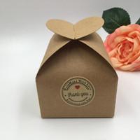 50st / parti 2017 Ny DIY Kraft Paper Box Presentförpackning för bröllop favoriserar födelsedagsfest godis kakor julfest presentidéer