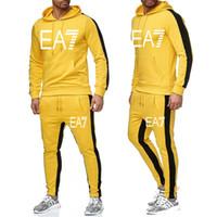 New Brand Tracksuit Homens Moda Homens Hoodies Suits Tracksuit Homens Moletom Menores + Sweatpants Outono Inverno Fleece Hooded Pullover