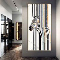 Wall Poster Leinwand-Malerei Drucke Abstrakte gestreifte Zebra-Wand-Kunst Bilder für Wohnzimmer-Dekoration Gastronomie Restaurant Hotel Home Decor