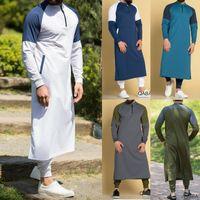 Мужская одежда Мантия с длинным рукавом саудоаравийском Thobe Джубба Thobe Человек Кафтан Ближний Восток Исламский Джубба мусульманская Туалетный S-3XL