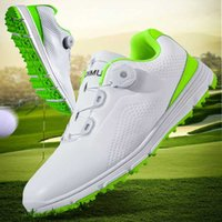 Nuove scarpe impermeabili di golf maschile bianco verde di alta qualità Golf Shoes Anti Slip Golf sneakes esterna Erba Sneakers Walking
