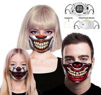 Máscara Funny Face Halloween Crânio do palhaço Imprimir Máscaras crianças Adutls cara contra pó Anti-fog máscara facial com filtro PM2.5 Máscaras laváveis