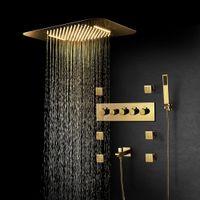 욕실 럭셔리 샤워 세트 음악 블루투스 샤워 헤드 골드 샤워 시스템 황동 온도 조절 식 4 기능 샤워 믹서 밸브