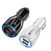 Dual USB Fast Charging Adapter For Samsung Huawei QC3.0 fast charge 6A Qualcomm Quick Charge car charger phone charger with opp package