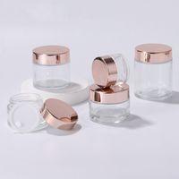 Nouveau bouteilles de crème de jar en verre transparentes rondes cosmétiques Botte de crème à la main avec capuchon en or rose 5g - 100g