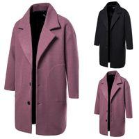 الرجال في فصل الشتاء الرجال الصوف معطف نمط جديد الصلبة اللون الدافئ سميكة من الصوف يمزج الصوفية معطف البازلاء ذكر خندق المعطف