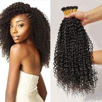 DHGATE أنا تلميح مجعد شعر إمتداد لكل I كابيلي البشرة الانحياز شعر مجعد غريب مستقيم 100G / 100S الأسود الطبيعي # 1B معطلة اللون الأسود