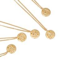 2020 Nouveau 12 Zodiac Constellation signe collier pendentif en laiton jaune Collier Femmes ami Mode Design Anniversaire Bijoux Cadeau
