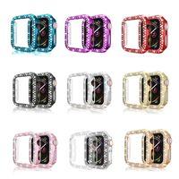 애플 두 행 다이아몬드 스마트 워치 케이스 iwatch 38mm의 40mm 42mm의 44mm 화면 보호 FRAM의 경우 1 2 3 4 5 PC 갑옷 커버를 보는 여성 럭셔리