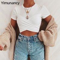Yimunancy manga curta Top Curto Mulheres 2020 Branco Enrole Top Ladies O pescoço Bow Sexy Summer Tie