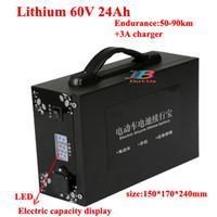 Leistungsstarke LED-Anzeige der Batteriekapazität 60V 24AH Lithium-Batterie tragbare 60V für 3000W 1800W Elektroauto Tricycle AGV
