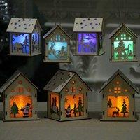 Kit de madera del arte de Navidad se bloquea cabaña de madera del rompecabezas del juguete de Navidad Casa de madera con barra de luz de las velas de regalo Inicio Decoraciones de la Navidad