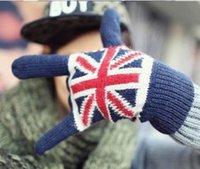 Горячий продавать Вязание Flag Перчатки для мужчин и женщин Флаг Великобритании Пальцы перчатки зимы теплые варежки 4 цвета Всего