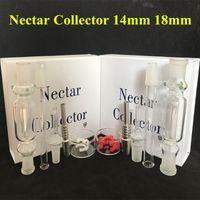 Nectar Collector Kit verre Nectar Collector Conseils avec du titane et quartz clou plat 10 mm 14 mm 18 mm Pipe en verre En Stock