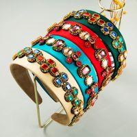 Multi-Farben-Kristall Stirnband für Frauen-Weinlese geometrischen Kristall Fest Farbe Stoff Haarband Frau Kopfbedeckungen