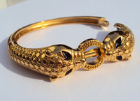 Leopard Black Eyes Thai Baht giallo Solid Gold Jewelry G / F Bangle Aperto Bracciale pesante