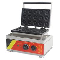110 V 220 V 15 ADET Yapışmaz Ticari Elektrikli Çörek Waffle Makinesi Makinesi Çörek Pişirme Makinesi
