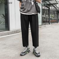 Pantaloni Uomo Plus Size vita alta Pantaloni felpa nera sottile casuale Tutti termini Mens coreano stile trendy Streetwear tasca coulisse soft