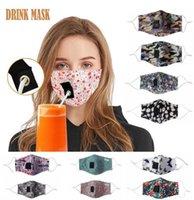 Adultes Masque Coton Masque Visage potable avec trou pour paille réutilisable Masque Masques anti-poussière lavable bouche d'extérieur Couverture Masques Designer FY6091