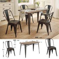 EU Stock U_STYLE Antique 5 peças de metal Dining Room Set madeira maciça Cadeira de mesa da sala de jantar Mobiliário SL000024DAA
