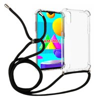 1.5mm Thicken Transparent Shockproof necklace crossbody Lanyard TPU Case for Samsung Galaxy M01 Cell phone Cover 160mm rope