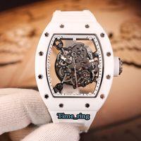SK Best Edition RM055 Скелетные циферблаты Белая керамика Чехол Автоматическое механическое движение RM055 Мужские Часы Белый Резиновый Ремешок Дизайнер Часы