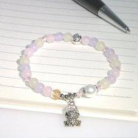 Dolce pietra naturale 6mm rotondo perline morganite agate jaspers immagine braccialetto accessori in lega ragazza regalo di nozze natale