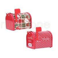 Navidad Hierro Correos de almacenamiento, rojo caja de Navidad de papel Bandeja de cajas del caramelo de Año Nuevo de Navidad Panadería regalos caja de embalaje Decoración RRA3472