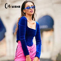 القمم CNYISHE كم طويل الأزياء المخملية النساء المخصر المحملة 2020 الخريف أنيق سليم مثير المخملية المحاصيل القمم تي شيرت تيز الشارع الشهير