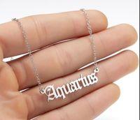 Carta personalizada Colar do Zodíaco constelação Colares personalizados de aço inoxidável de aço inoxidável velha colar de aniversário jóias presentes EPACKET Free