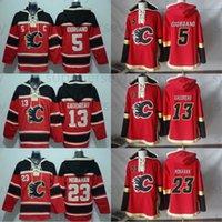 Calgary llamas sudadera con capucha 13 Johnny Gaudreau 23 Sean Monahan 7 TJ Brodie 5 Mark Giordano Hockey Sudaderas con capucha Jerseys Sudaderas