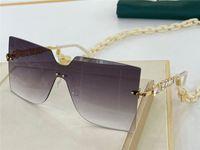 Новый дизайн моды женские солнцезащитные очки 0646 бескаркасных щит объектив горный хрусталь храм с конструкцией цепи элегантный темперамент UV400 линзы