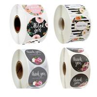 500pcs roll floral ringraziamento etichetta adesivi da 1,5 pollici involucro a mano Guarnizioni per busta artigianale rotonda Decorazione festiva adesiva per le vacanze Presents DHL GRATIS