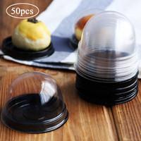 50pcs Mini-Runde Kuchen Kartons und Verpackungen Transparente Kunststoff-Box für Kuchen mit Deckel Eidotter-Puff Mooncake Box löschen Kasten-Verpackung