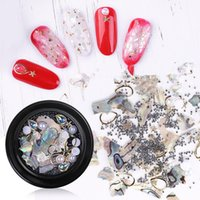 Nail fai da te Decorazione 3D lucido Abalone Shell della perla fetta Flake Nail Art Stones Charms Spangles punte manicure Accessori F634